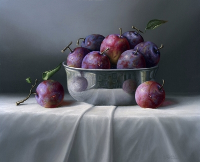 Plums and Metallic Bowl  (oil on board 8 X 10inches) SOLD by Rob Ritchie