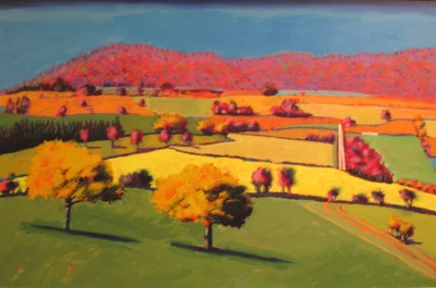 Teme Valley II (acrylic on board 140 x 98cm framed) £3000 plus delivery by Paul Powis