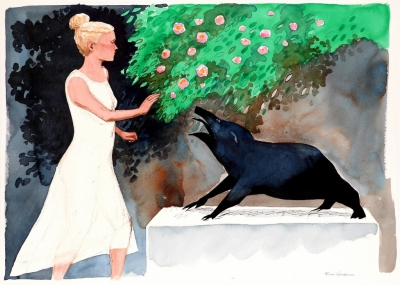 Beauty, beast (water colour framed 50 x 70cm) £1800 plus delivery by Frans Wesselman