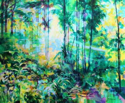 Tropical Forest 017-019  (acrylic on canvas framed 100 x 120 cm ) £2500 plus delivery by Doug Eaton