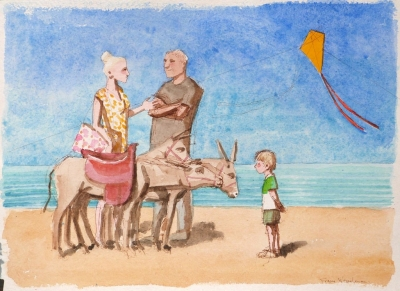 Donkeys (water colour framed 27x37cm) £495 plus delivery by Frans Wesselman