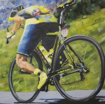 Top Tube Tinkoff (oil on canvas 60 x 60cm unframed) £790 plus delivery by Kathryn Sassall