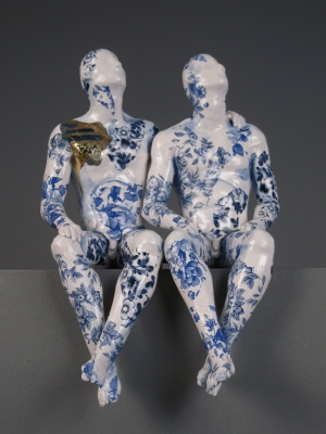 Two Pugilists Waiting for the Swifts (original ceramic) £650 plus delivey by Pierre Williams