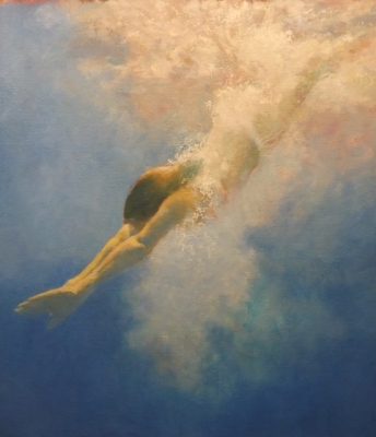 Swimmer (oil on board framed) Sold