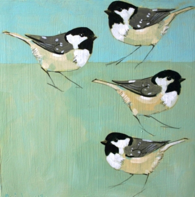 Four Coal Tits (acrylic on board  20 x 20cm) £260 plus delivery by Christopher Rainham