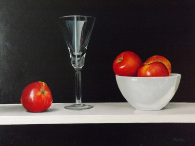 Red Apples and a Tall Glass (oil on board 41 x 51cm, framed) Sold by Peter Kotka