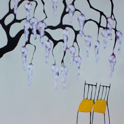 Hang  (acrylic on canvas 128 x 128cm 50 x 50inches framed) £3300 plus delivery by Beth Richardson