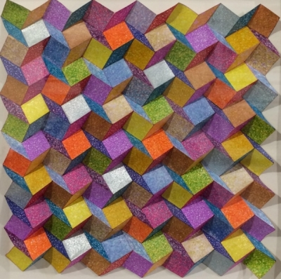 Floating Squares (TP67 paper colour pens framed 36 x 36cm) £150 plus delivery III by Tony Purser