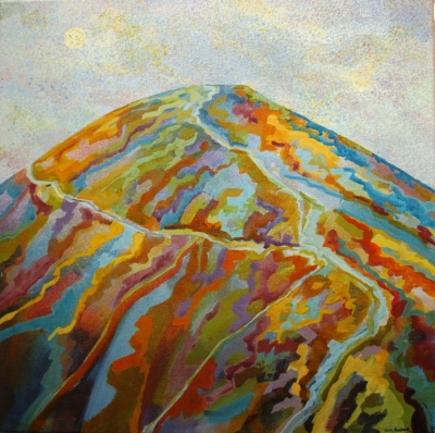 Worcestershire Beacon III  (Ink on canvas, 50x50cm, £250plus delivery) by Tony Purser