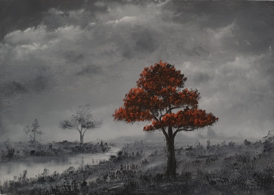 Red Tree Mono by Pip Walters