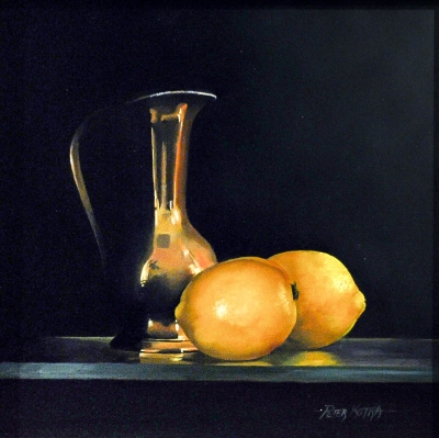 Lemons and Brass Jug by Peter Kotka