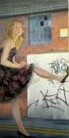 Girl and Graffiti II by Jane Eccles (oil on canvas 65 x 125cm framed)  £1800 plus delivery