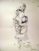 Embrace  (pen & ink) mounted £350 framed £450 plus delivery