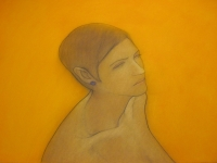 Ruth, on orange (conte & pastel ) £750 plus delivery