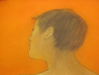 Gillian, orange study (conte & pastel framed) £450 plus delivery
