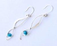 Long Turquoise Twisted Serpent Earrings