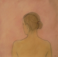Louise, back view, with pink (pastel & black chalk framed 90 x 90cm) £950 plus delivery