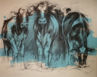 Grazing (charcoal and acrylic 102 x 82cm framed) £600 plus delivery