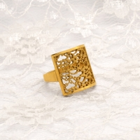 Gold Plated Silver Lace Square Ring  NS01S £76