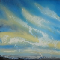 Blue Sky Lightning (acrylic on board unframed 95 x 95cm) £1650 plus delivery by Matt Clarke