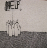 Help (group) (ink on fibre 12 x 12 cm) £25 plus delivery