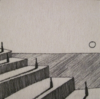 The Steps (ink on fibre 12 x 12cm) £25 plus delivery