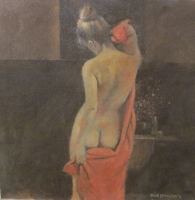 Nude with Towel (oil on board framed 64 x 64cm) Sold