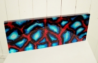Blue and Red 3D Wall Block, (silk & acrylic) £260 Plus delivery