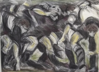 The Scrum (100 x 80 cm, pastel) £495 plus delivery