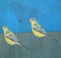 Yellow Wagtails (acrylic on board unframed 20 X 20cm) £260 plus delivery  by Christopher Rainham