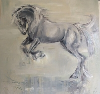 Frolic ( horseplay 1) (oil on canvas 21x 21 inches, 54 x 54cm unframed) £450 plus delivery