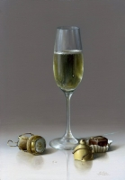 Champagne Glass and Chocolates (oil on board framed 30 x 39cm 12 x 15 inches) sold
