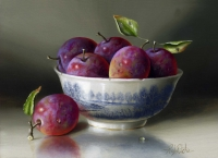Victoria Plums & Bowl  (oil on board 35 x 30cm framed) Sold