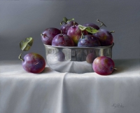 Plums & Metal Bowl  (oil on board 35 x 30cm framed) Sold