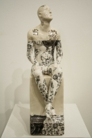 Pierre Williams, Seated Male on Plinth (Black and White Ceramics, Precious Series, G164 267) £480