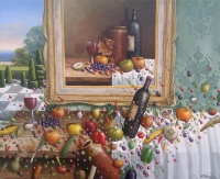 Chris Howells, Still Life with Falling Fruit (oil on canvas framed x cm) £1100 plus delivery