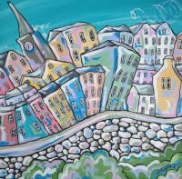 Bustling Tenby (43 x 43 cm) £449 plus delivery by Rhiannon Thomas