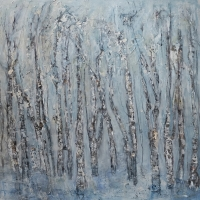 Birch Forest (mixed media 100 x 100cm unframed) £2250