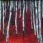 Silver Birch and Reds (23 x 23cm Acrylic on Canvas) £120